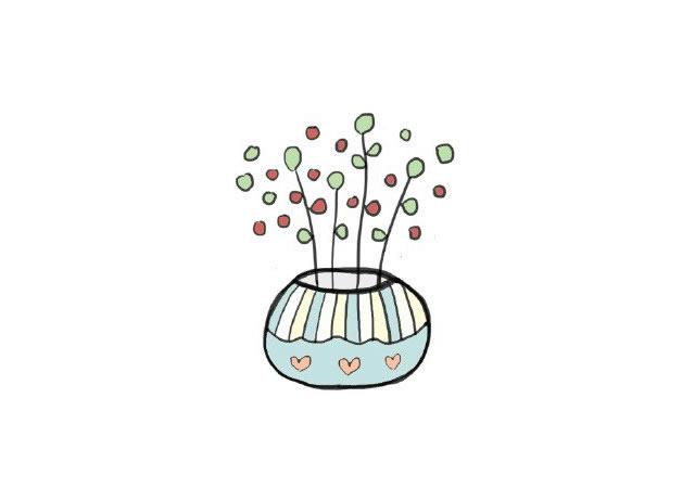 植物盆栽简笔画图画带颜色 中级简笔画教程-第4张