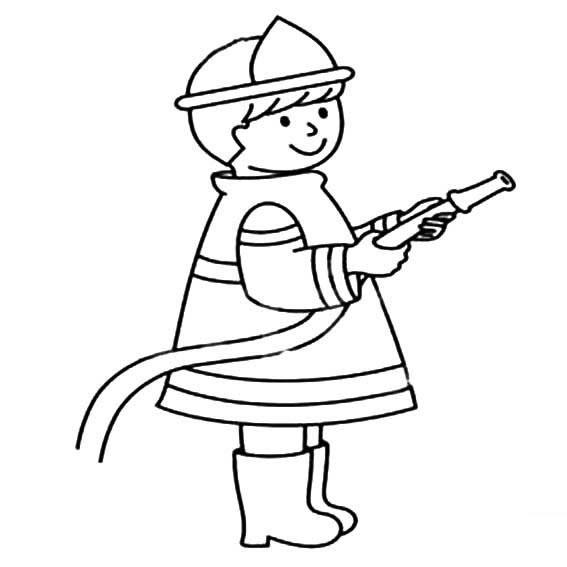 消卡通消防员救火简笔画 中级简笔画教程-第2张