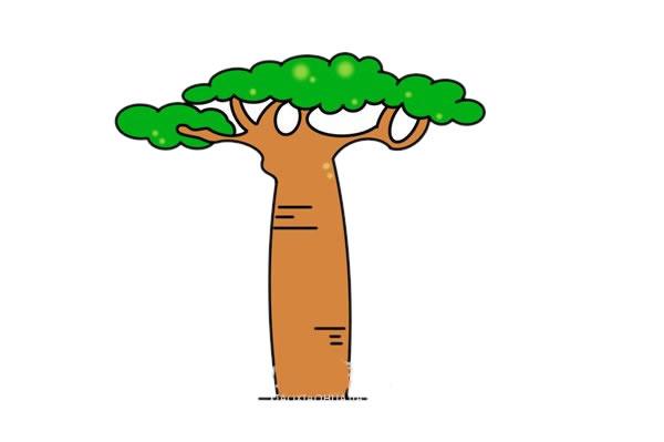 面包树简笔画画法步骤图片 中级简笔画教程-第1张