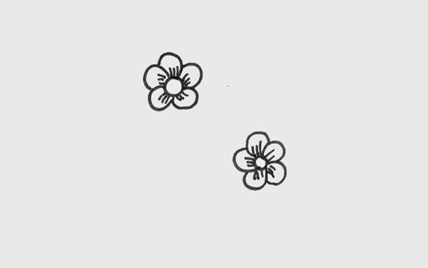 树枝上的梅花简笔画 初级简笔画教程-第2张