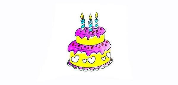 双层生日蛋糕简笔画