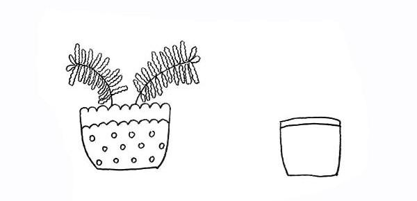 两盆漂亮的盆栽简笔画彩色画法步骤图教程 植物-第7张