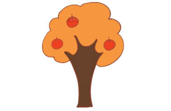 果树简笔画的画法步骤图解教程及图片大全 植物-第9张