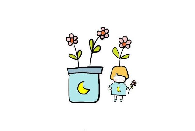 植物盆栽简笔画图画带颜色 中级简笔画教程-第7张
