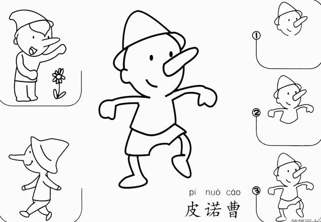 匹诺曹的简笔画怎么画 木偶匹诺曹简笔画步骤 人物-第1张