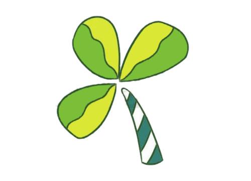 三叶草简笔画的画法步骤图解教程及图片大全 植物-第5张