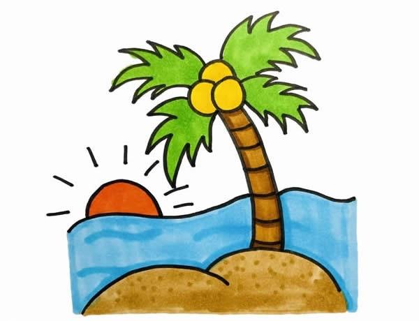海边风景简笔画,椰子树简笔画 植物-第6张