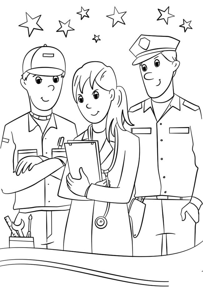 维修工医生和警察简笔画图片 人物-第1张
