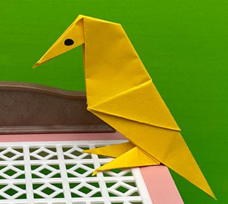 乌鸦手工折纸步骤图解 手工折纸-第1张