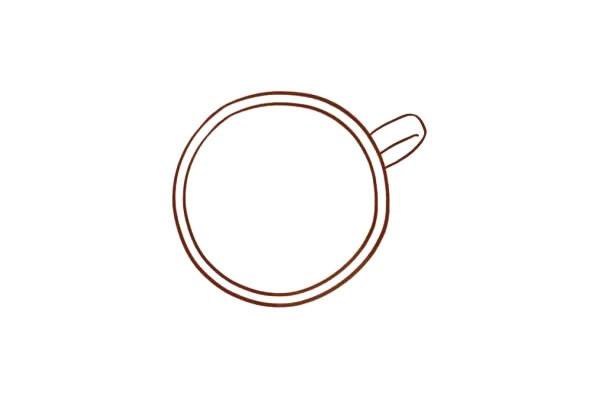 心形拉花咖啡简笔画