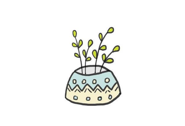 植物盆栽简笔画图画带颜色 中级简笔画教程-第2张