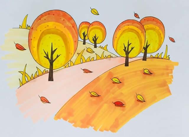秋天风景简笔画彩色画法图片 植物-第1张