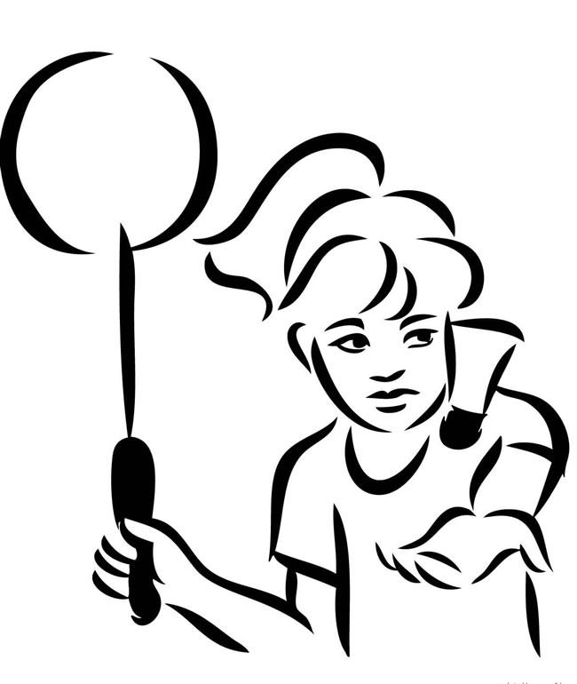 女生打羽毛球简笔画图片 人物-第1张