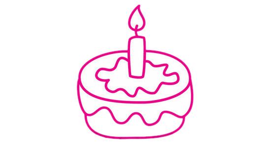 生日蛋糕简笔画完成图