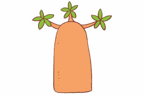 面包树简笔画画法步骤 中级简笔画教程-第1张