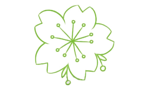 樱花简笔画的画法步骤教程及图片大全 植物-第4张