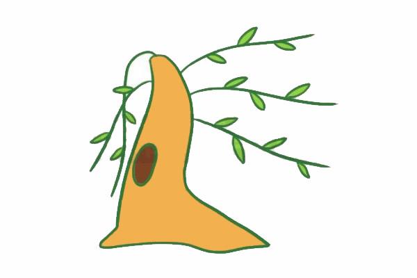 柳树简笔画的画法,简单的柳树画法 初级简笔画教程-第5张