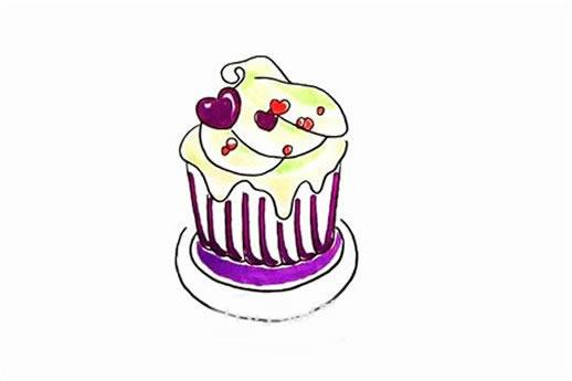 纸杯蛋糕简笔画彩色画法步骤图片