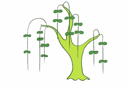 柳树简笔画的画法,简单的柳树画法 初级简笔画教程-第7张