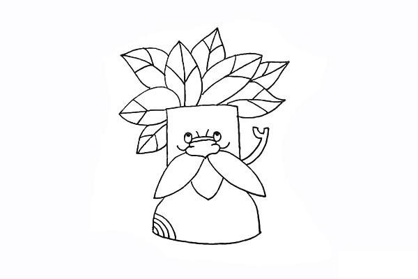 树爷爷画法步骤 卡通树爷爷简笔画彩色画法步骤图教程 植物-第11张