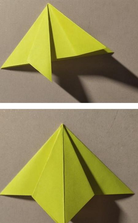 三角书签的折法图解 手工折纸-第5张