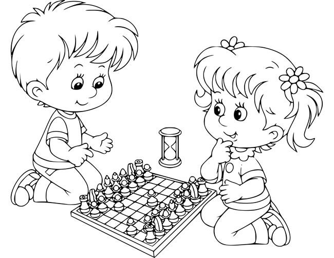 【下棋简笔画】小男孩和小女孩下棋简笔画 人物-第1张