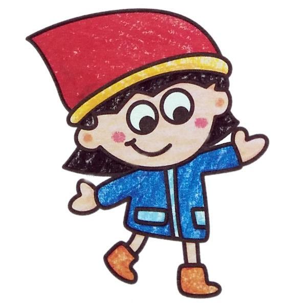 戴圣诞帽的小女孩简笔画彩色图片 中级简笔画教程-第1张