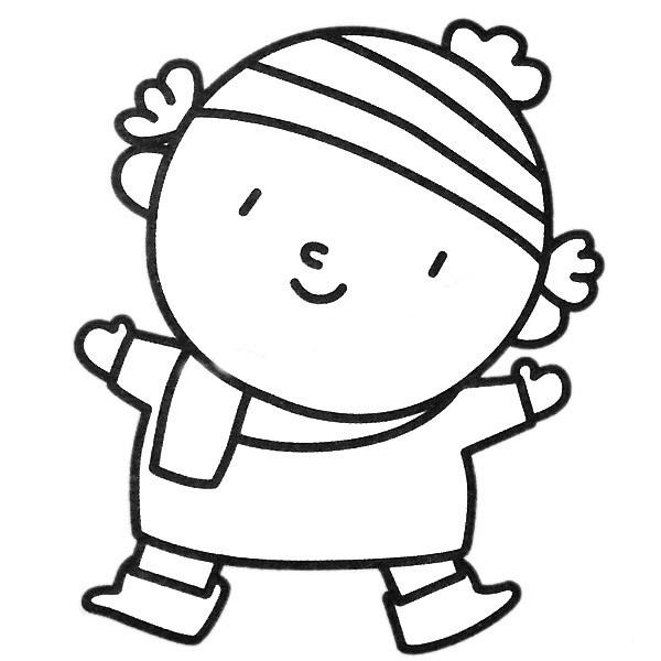 冬季男孩简笔画 人物-第1张