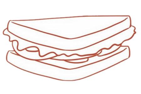 三明治简笔画图片步骤四