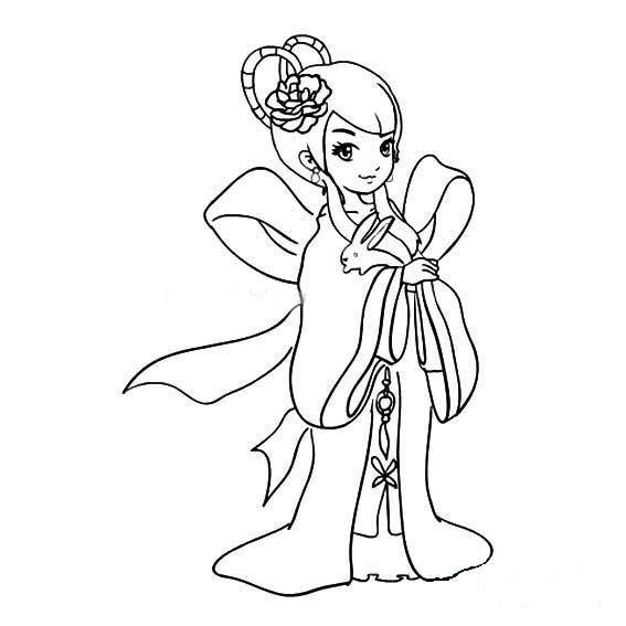 卡通嫦娥和玉兔简笔画 人物-第2张