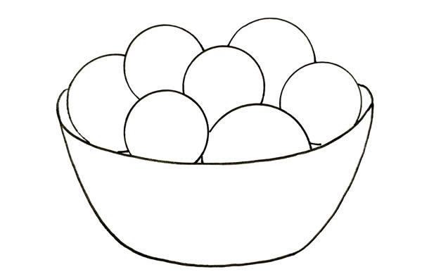 一碗可爱汤圆简笔画画法步骤图片