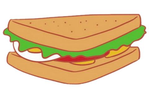三明治简笔画完成图