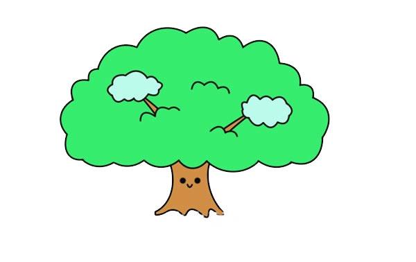 简单漂亮的大树简笔画图片 初级简笔画教程-第1张
