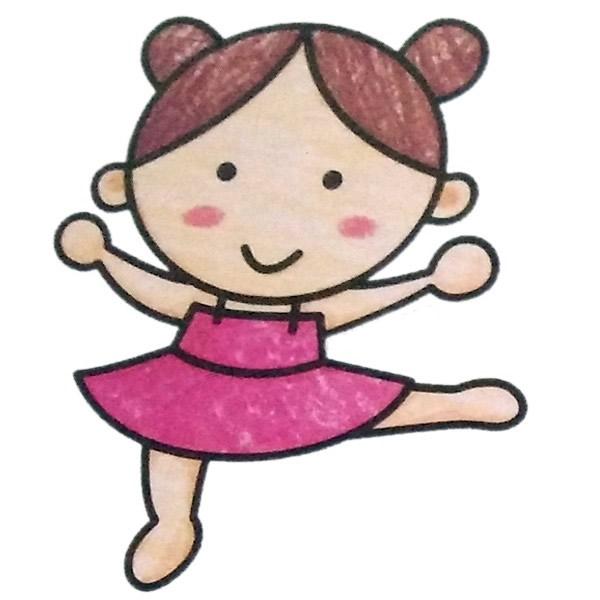 小女孩跳舞简笔画填色图 中级简笔画教程-第1张