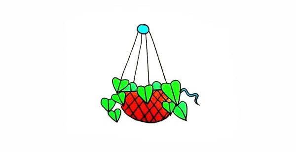 吊兰画法步骤 绿萝吊兰简笔画彩色画法步骤图教程 植物-第1张