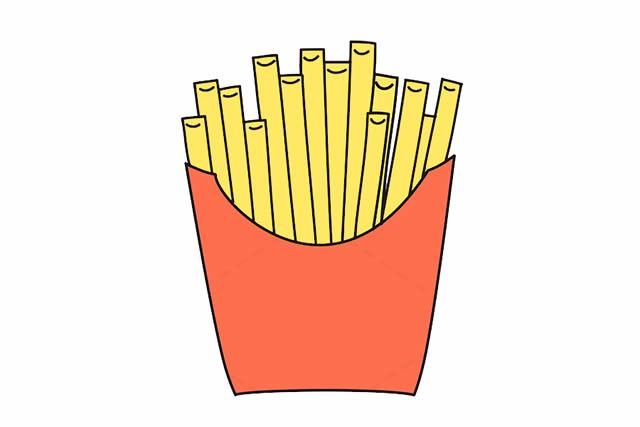 薯条简笔画彩色图片