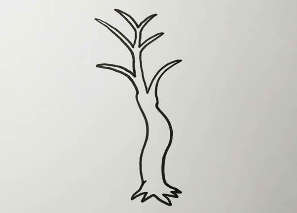 柳树画法步骤,柳树彩色画法 中级简笔画教程-第2张