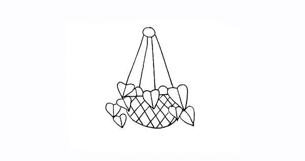 吊兰画法步骤 绿萝吊兰简笔画彩色画法步骤图教程 植物-第8张