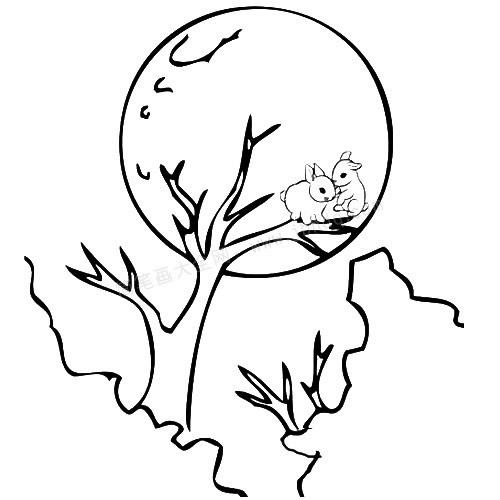 中秋节玉兔简笔画图片 人物-第1张