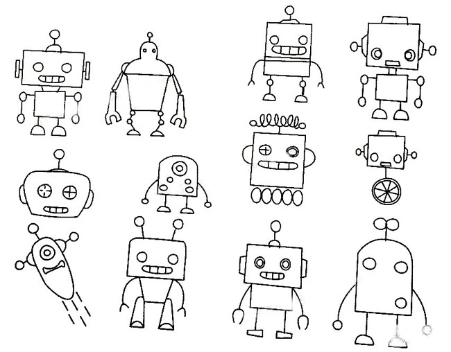 教小朋友画简单的机器人简笔画 人物-第1张