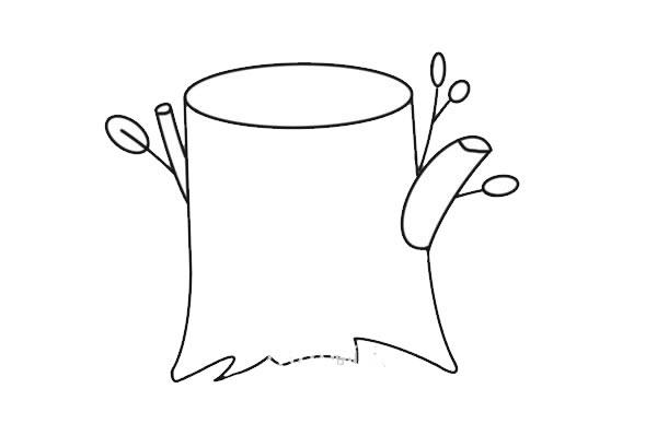 彩色树桩简笔画画法图片 初级简笔画教程-第4张