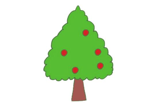 果树简笔画的画法步骤图解教程及图片大全 植物-第11张