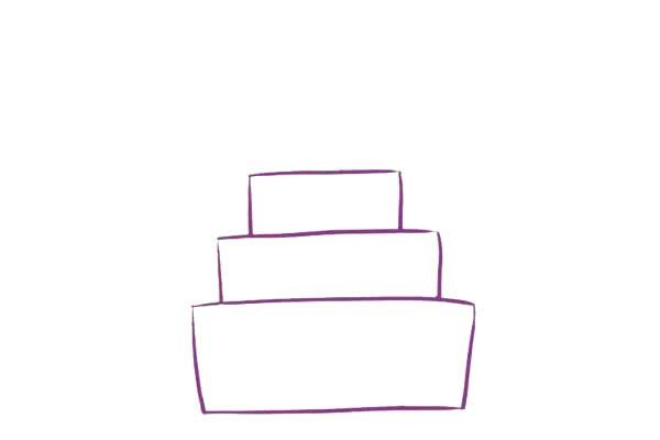 三层生日蛋糕简笔画,儿童简笔画蛋糕画法 初级简笔画教程-第3张