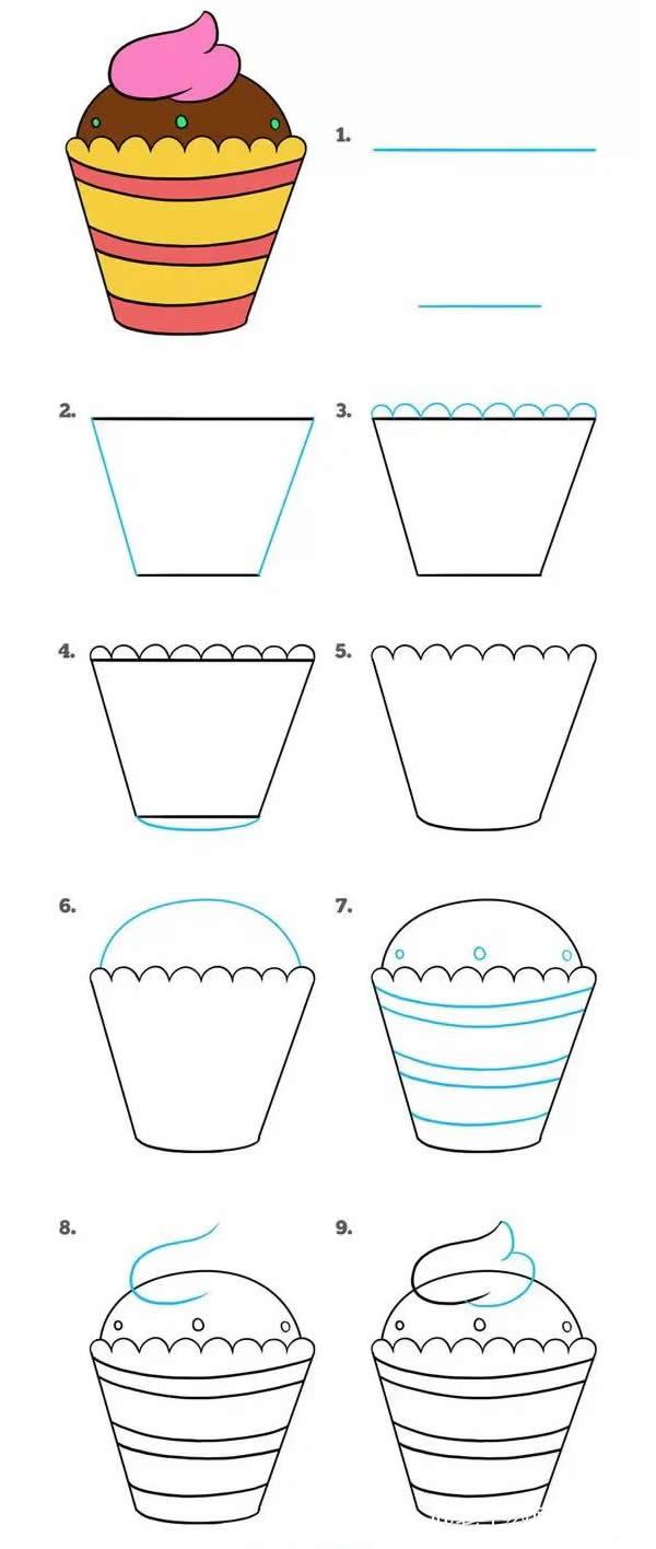 杯装蛋糕简笔画步骤图片