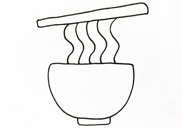 简笔画面条的简单画法_面条简笔画步骤画法教程