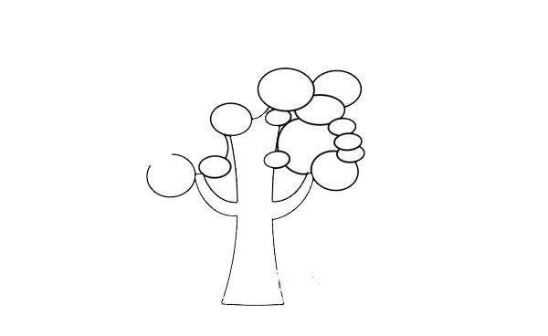 卡通大树简笔画步骤图 初级简笔画教程-第4张