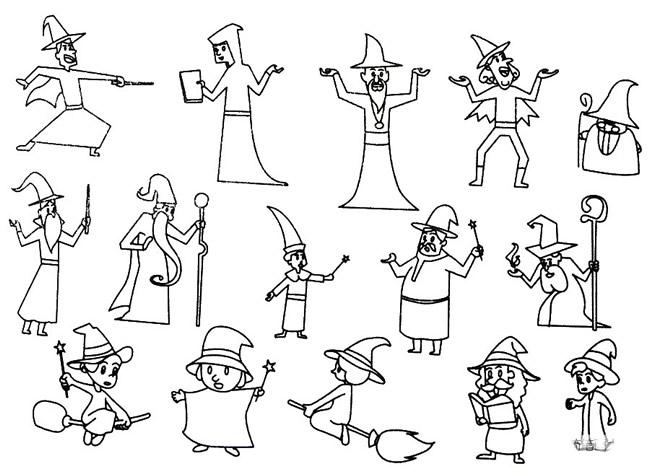 魔法师简笔画的画法步骤 中级简笔画教程-第1张
