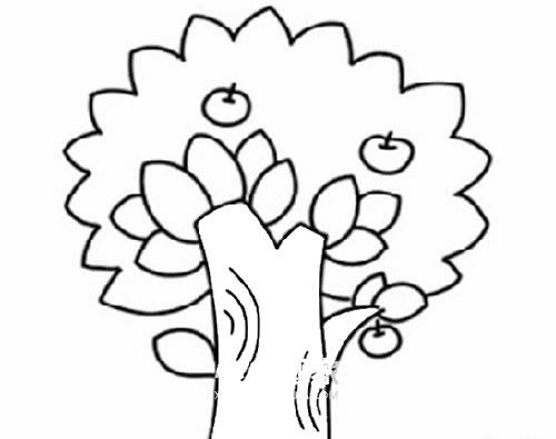 苹果树简笔画儿童画法 中级简笔画教程-第6张