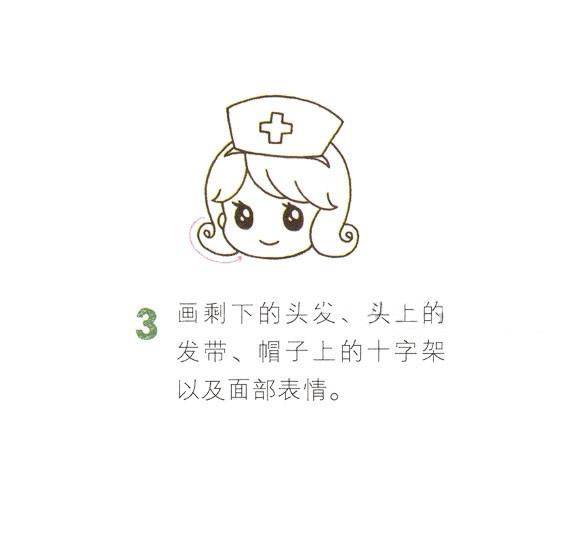 卡通护士简笔画画法步骤图 中级简笔画教程-第4张