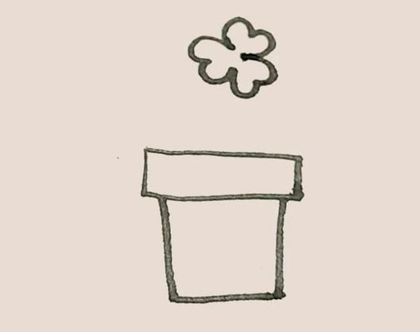 三叶草盆栽简笔画画法教程 中级简笔画教程-第5张